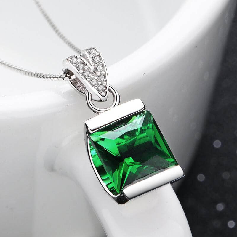 Green Square Crystal Necklace
