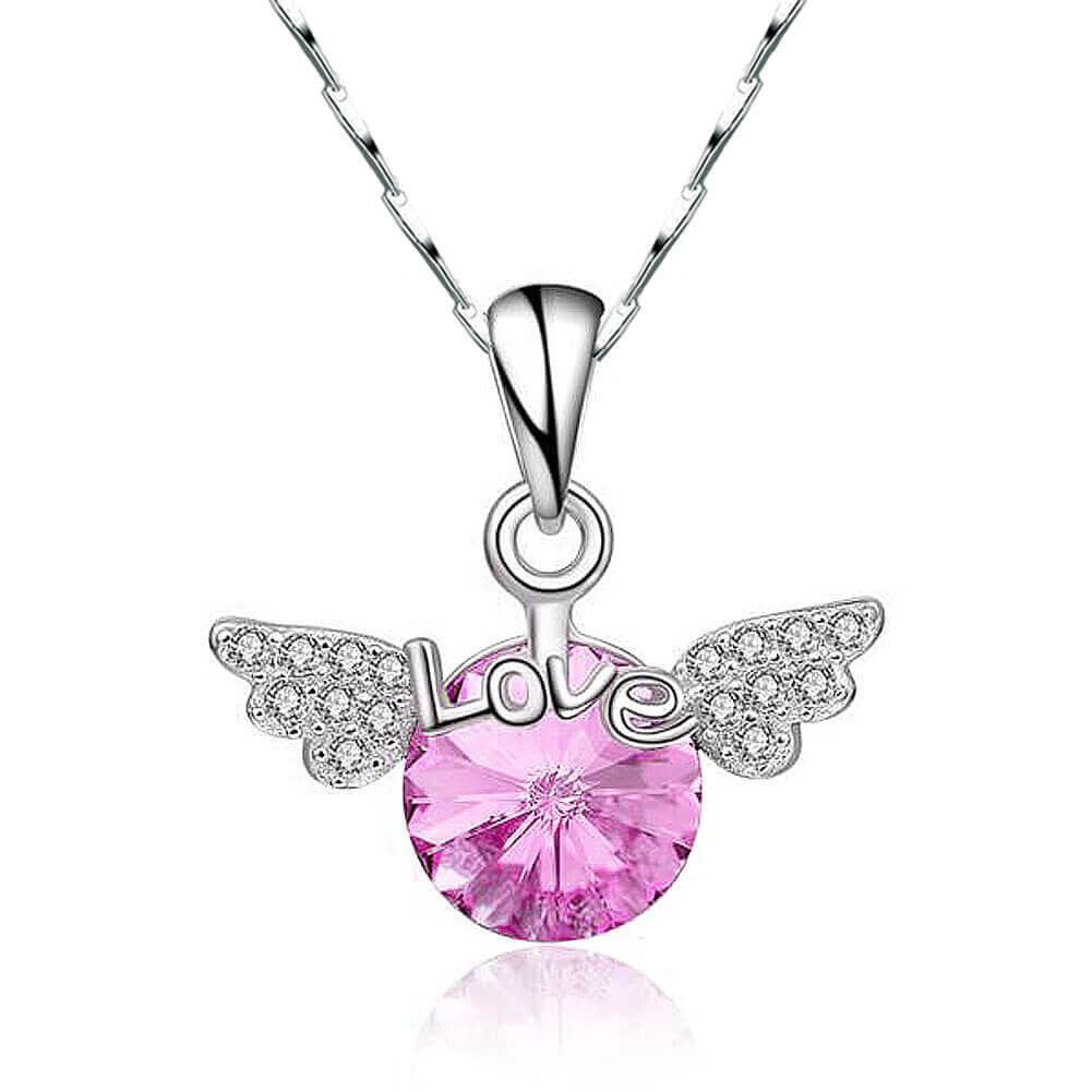 Angel Wings Pink Crystal Necklace