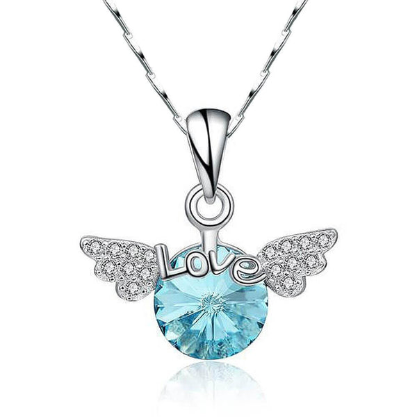 Angel Wings Blue Crystal Necklace