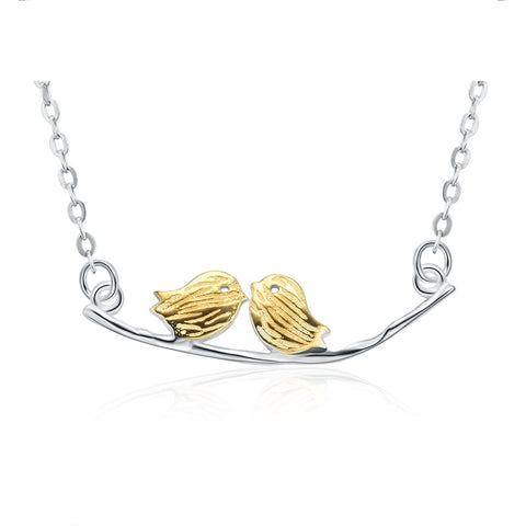 Couple Birds Sterling Silver Necklace