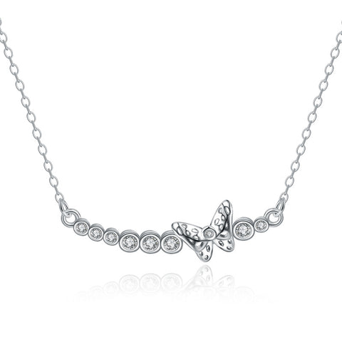 925 Sterling Silver Butterfly Crystal Necklace