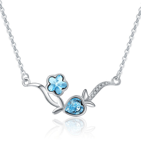 Blue Crystal Necklace Flower Choker
