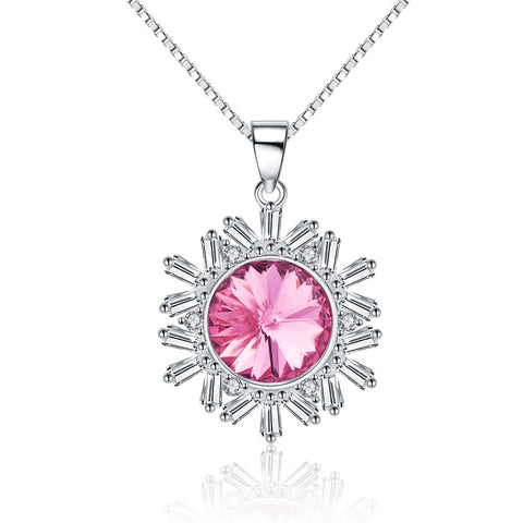 Pink Crystal Snowflake Necklace