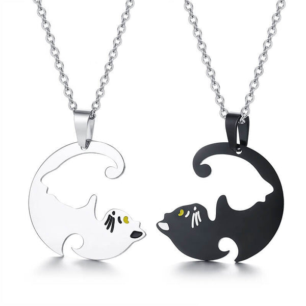 Cute Cat Matching Love Necklace