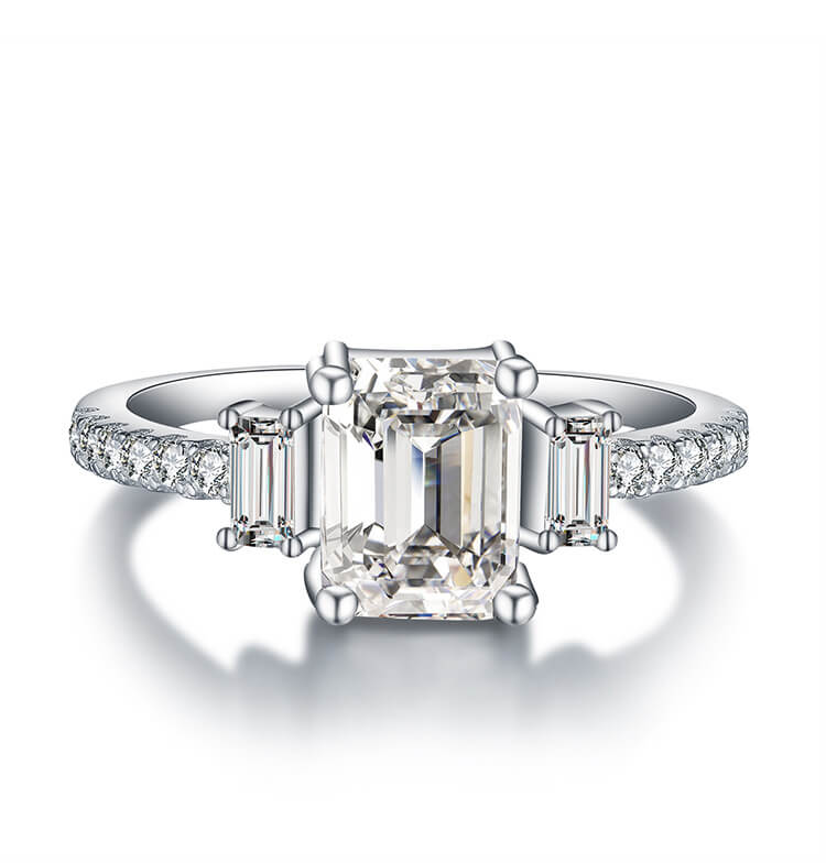 9ec14284a252a Emerald Cut White Sapphire Sterling Silver Engagement Ring