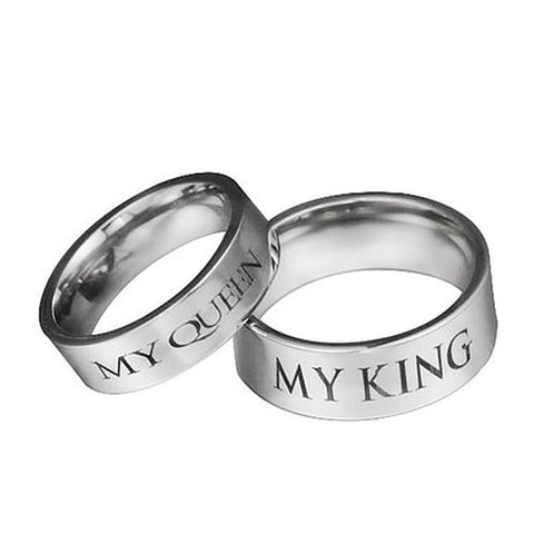 My King My Queen Promise Rings Silver Couple Set