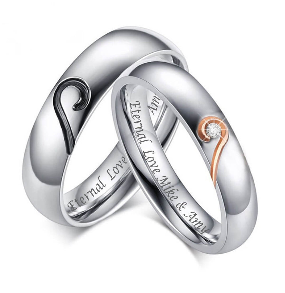 Puzzle Heart Couple Promise Rings