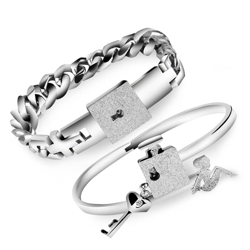 68b390ac8c Lock and Key Bracelets for Couples Titanium Bangles Jewelry Set ...