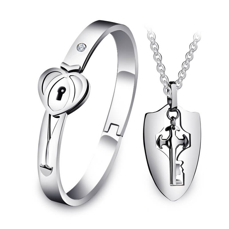 6e0786fbf2 Couple Bracelets Lock and Key Necklace Bangle Set Valentine's Gifts ...