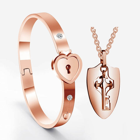 Rose Gold Lock and Key Bracelets for Couples