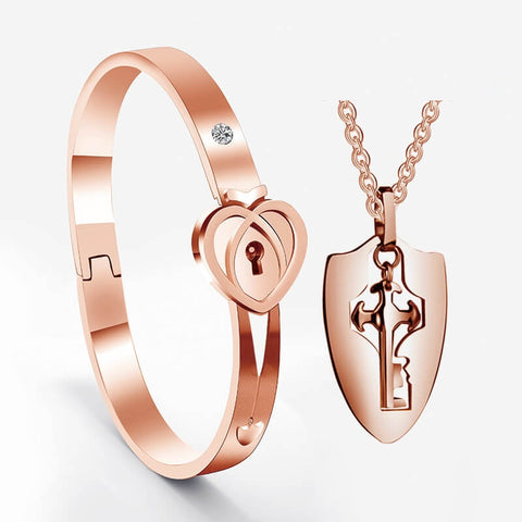 Rose Gold Couple Bracelets Lock and Key Set