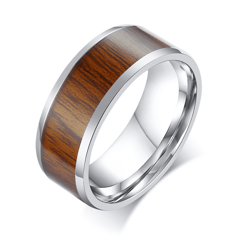 Titanium Wood Grain Promise Ring for Men 8mm