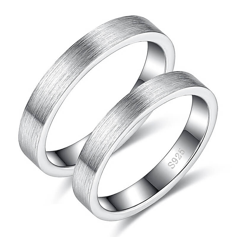 Sterling Silver Promise Rings for Couples Matte Design