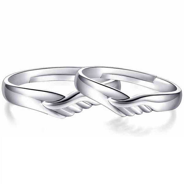 Silver Heart Open Couples Ring
