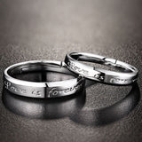 Engraved Silver Open Rings Couples