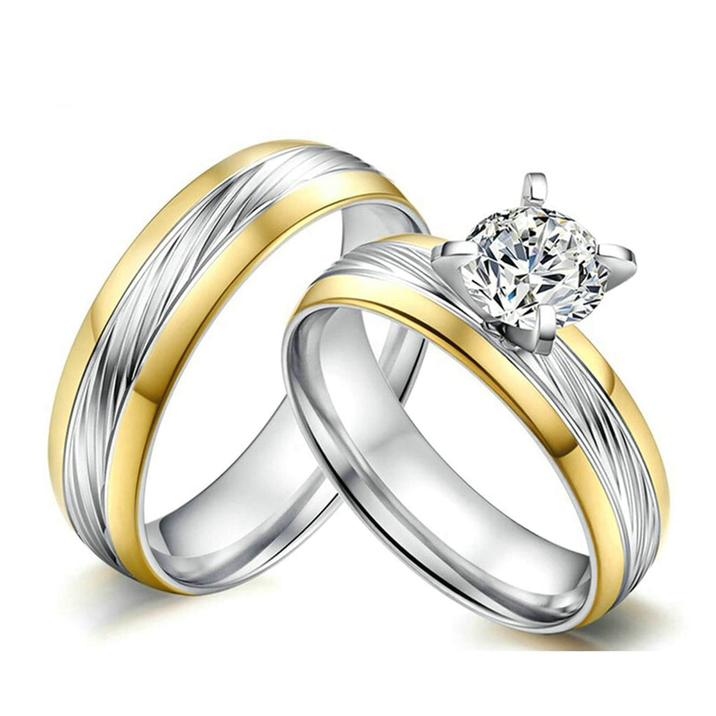 Two-Tone Her and His Promise Rings for Couples