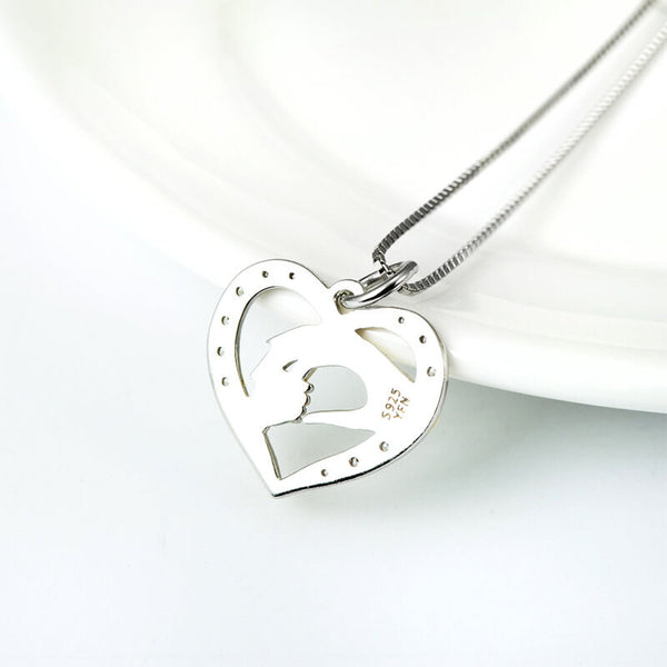 Mom and Child Heart Necklace