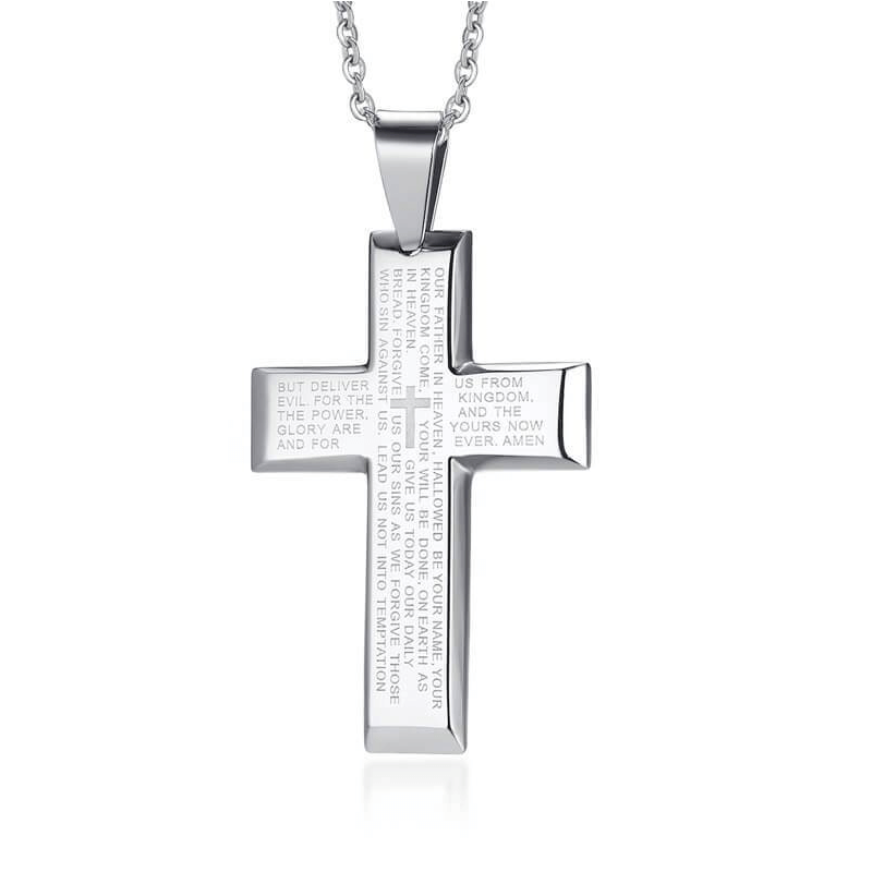 Cross Couple Necklaces Prayer Engraved