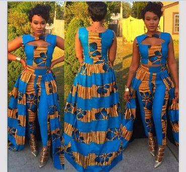 African Print Crop Dress With Pants