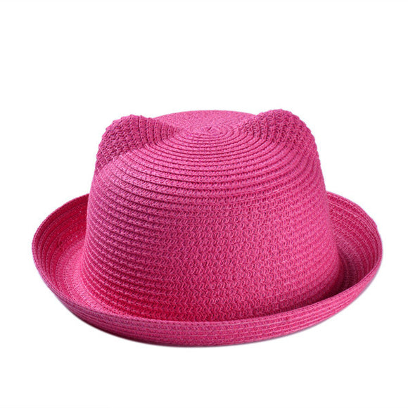 Women's Casual Straw Hats. Designed With Cat Ears At the Top. Dress Up Or Dress It Down. Circumference Size Is About 22 Inches.