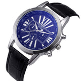 Digital Dial Leather Band Quartz Watch