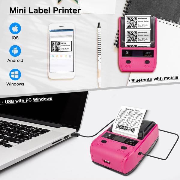 NetumScan G5 Portable Bluetooth Label Maker, Wireless USB Thermal Label Printer Maker, Compatible with Android & iOS System, Easy to Use Office Home Organization USB Rechargeable, Rose Red