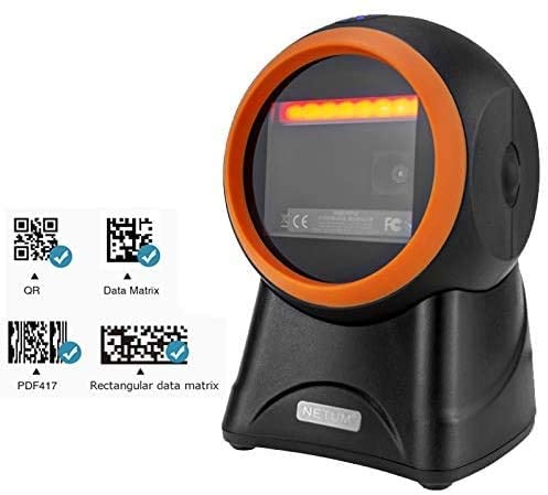 NETUM 2050M Desktop QR Omnidirectional Barcode Scanner, Hands-Free USB Wired 1D&2D Bar code Reader, Capture Barcodes from Mobile Phone Screen, Automatic Image Sensing for Supermarket Library Retail Store