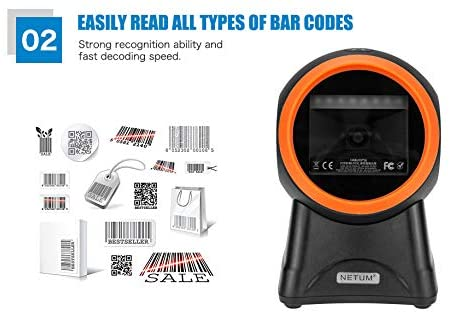 NETUM 2050M Omnidirectional Hands-Free QR Scanner, USB Wired 1D&2D Bar code Reader