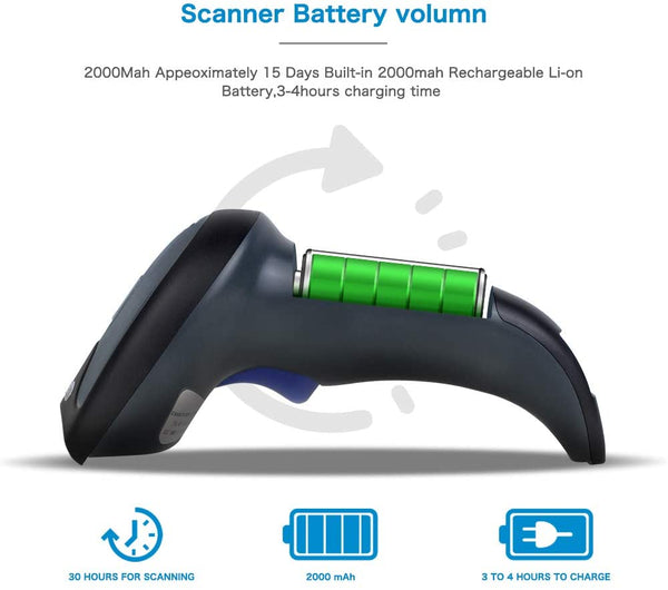 NETUM W8-X Bluetooth & Wireless QR Barcode Scanner,1D&2D Barcode Reader
