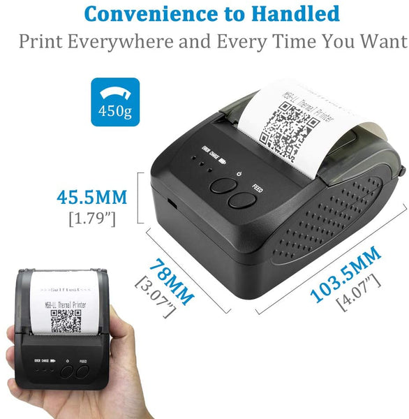 NETUM NT-1809DD Wireless Bluetooth Thermal Receipt Printer, Portable 2 Inches 58mm Mini USB POS Printer Compatible with Android/iOS/PC/Windows