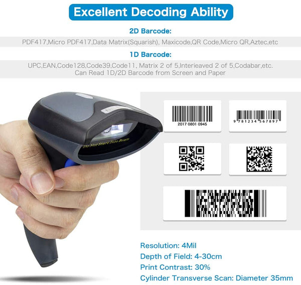 NETUM W8-X Bluetooth Wireless QR Barcode Scanner, 3-in-1 2.4G Wireless & USB2.0 Wired & Bluetooth 1D&2D Bar Code Scanner Reader for iPad, iPhone, Android, Tablets or Computer PC