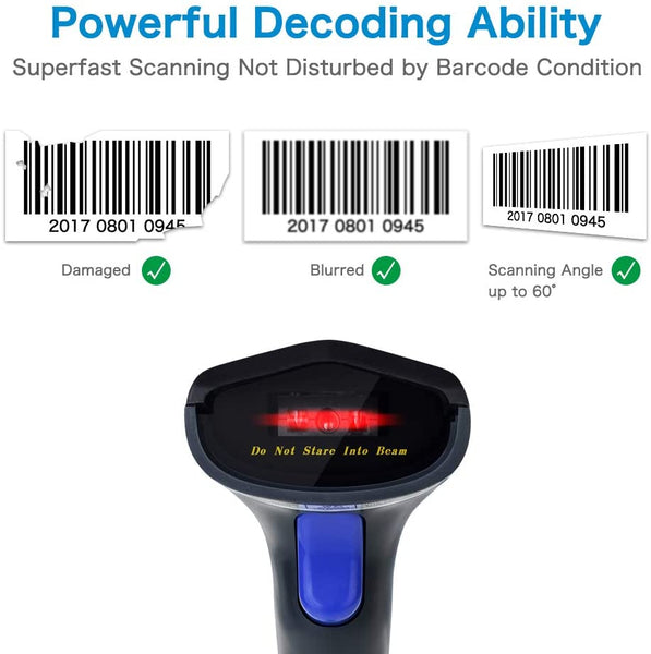 NETUM W6-X Wireless Bluetooth CCD Barcode Scanner, 3 in 1 Bluetooth & 2.4Ghz Wireless & USB Wired 1D Bar code Reader for iPad, iPhone, Android, Tablets or Computer PC
