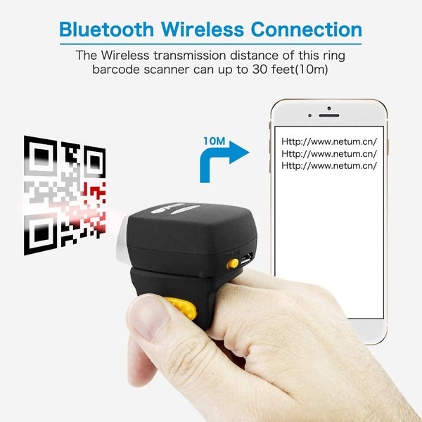 NETUM NT-R2 Wearable Bluetooth Ring 1D 2D QR Barcode Scanner Wearable Mini Bar Code Reader Compatible for Windows, Mac OS, Android 4.0+, iOS,Support Scan PDF417 DataMatrix on Screen and Paper