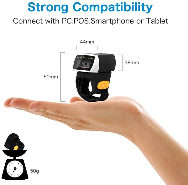 NETUM NT-R3 Bluetooth Wearable Ring CCD Barcode Scanner, Mini 1D Bar Code Reader Compatible for Windows, Mac OS, Android 4.0+, iOS,Support Scan on Screen and Paper
