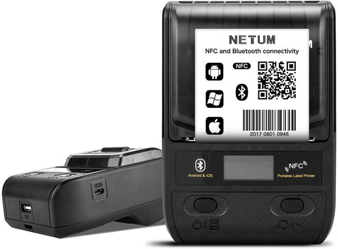 NetumScan G5 Portable Bluetooth Label Printer, Wireless USB Thermal Label Maker Maker, Compatible with Android & iOS System, Easy to Use Office Home Organization USB Rechargeable