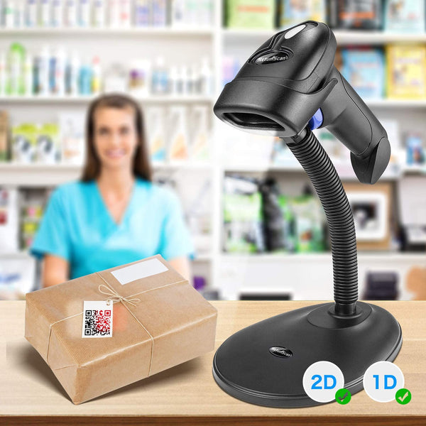 NetumScan L8S Wireless QR Barcode Scanner, 2.4G Wireless USB Automatic 2D Bar Code Reader with Hands Free Adjustable Stand for Laptop or Computer PC