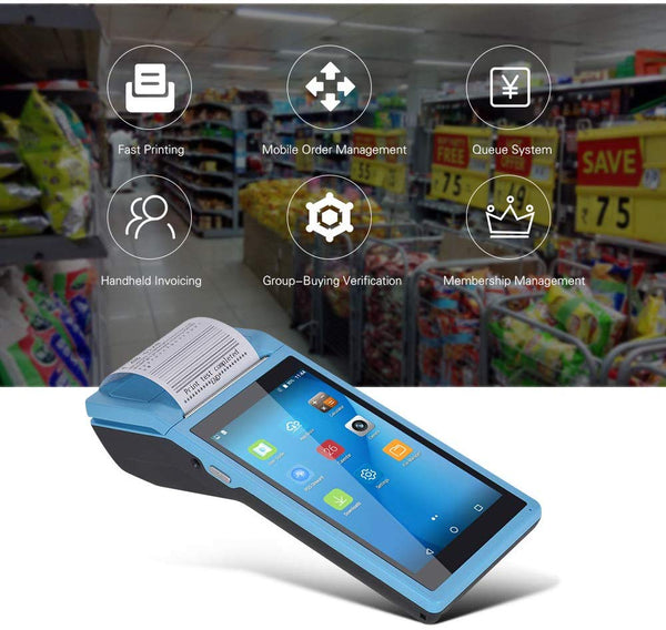 NETUM NT-PDA58 Android POS Terminal Receipt Printer Handheld PDA Bluetooth 1D/2D/QR barcode Support WiFi 3G NFC Data Collector Portable Barcode Scanner All-in-One