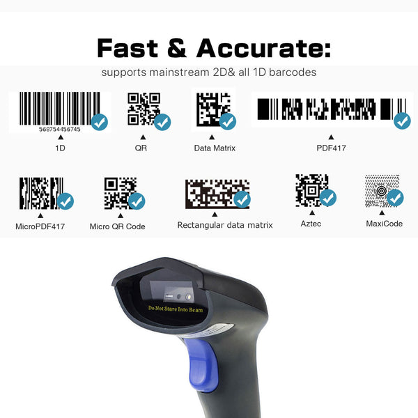 NETUM W9S Wired QR USB Barcode Scanner, 1D&2D Bar Code Scanner Readerwith Hands Free Adjustable Stand for Mobile Payment Computer Screen