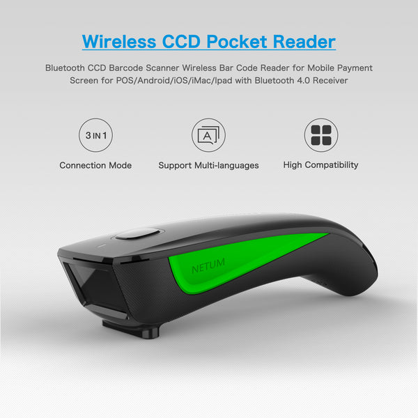 NETUM C740 Mini Portable Bluetooth & 2.4G Wireless Image Scanner, 1D Barcode Reader