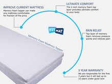 FitMat Orthopaedic Support Pain Relief Memory Foam Mattress Topper 3 inches