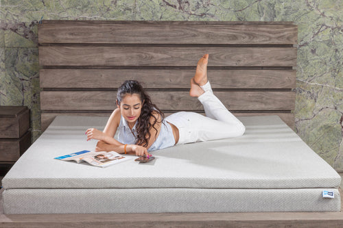 FITMAT Orthopaedic Responsive Memory Foam Mattress Topper with Premium Melange Fabric Cover