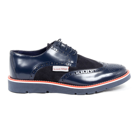 Andrew Charles New York Mens Brogue Oxford Shoe 914 ABRASIVATO CAMOSCIO BLEU