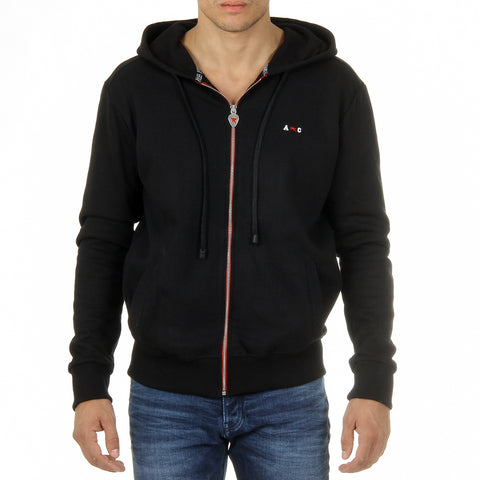 Andrew Charles New York Mens Hoodie with Zip Long Sleeves Round Neck Black FELA