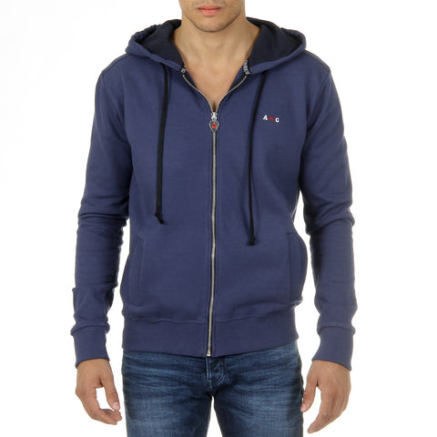 Andrew Charles New York Mens Hoodie with Zip Long Sleeves Round Neck Blue FELA
