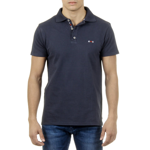 Andrew Charles New York Mens Polo Short Sleeves Dark Blue SEFU