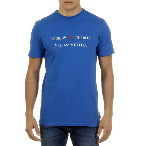 Andrew Charles New York Mens T-Shirt Short Sleeves Round Neck Blue KEITA