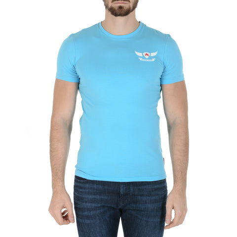 Andrew Charles New York Mens T-Shirt Short Sleeves Round Neck Light Blue KEITA