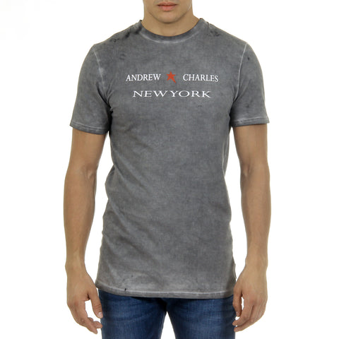 Andrew Charles New York Mens T-Shirt Short Sleeves Round Neck Light Grey KARITA