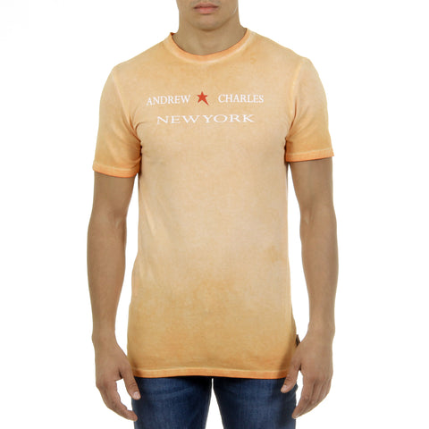 Andrew Charles New York Mens T-Shirt Short Sleeves Round Neck Orange KARITA