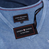 Andrew Charles New York Mens T-Shirt Short Sleeves V-Neck Blue ELI